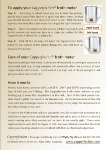 instructions for use of the Capperfection Froth Meter