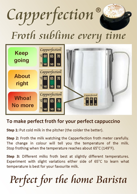The merchandise card for the Capperfection Froth Meter, with explanations and instructions (see accompanying text)